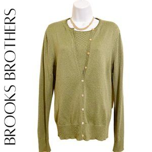 BROOKS BROTHERS Green Shimmer Knit Twinset, Large